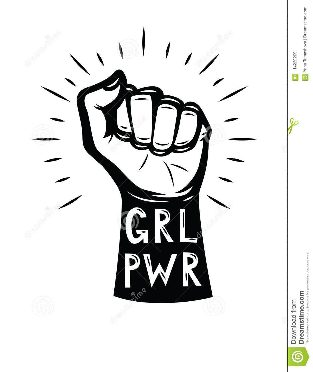 Girls Power Lettering With Logo Design Elements Isolated