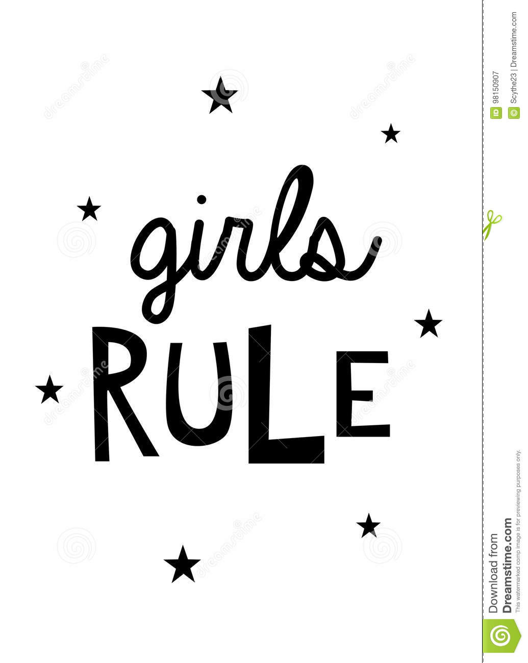 Girls Rule Wall Art Quote Stock Illustration Illustration