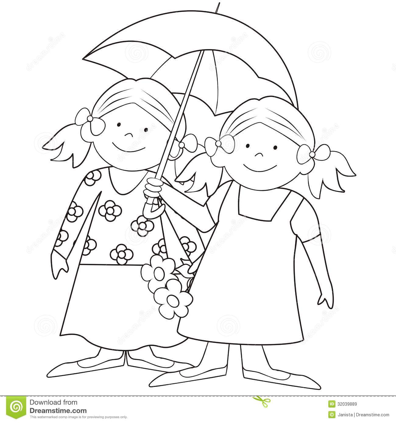 Girls And Umbrella Coloring Stock Vector