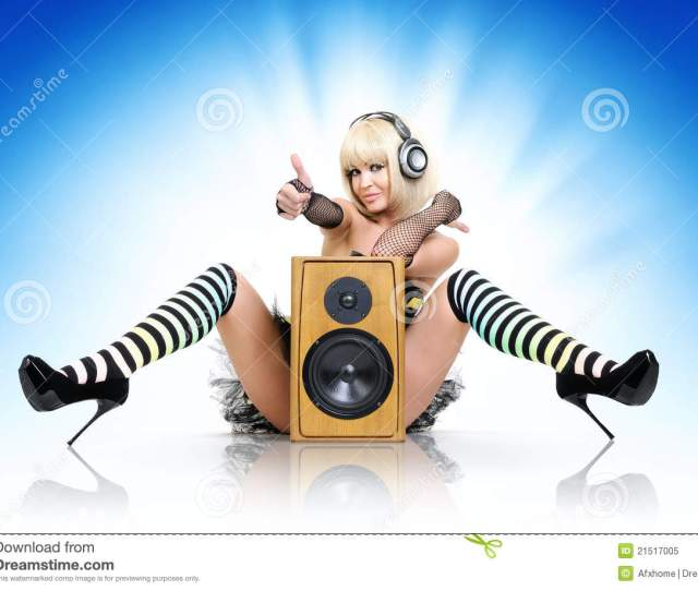 Glamorous Party Girl With Speaker