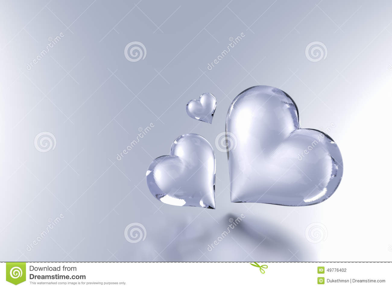 Glass Heart On Grey Colour Background Stock Illustration
