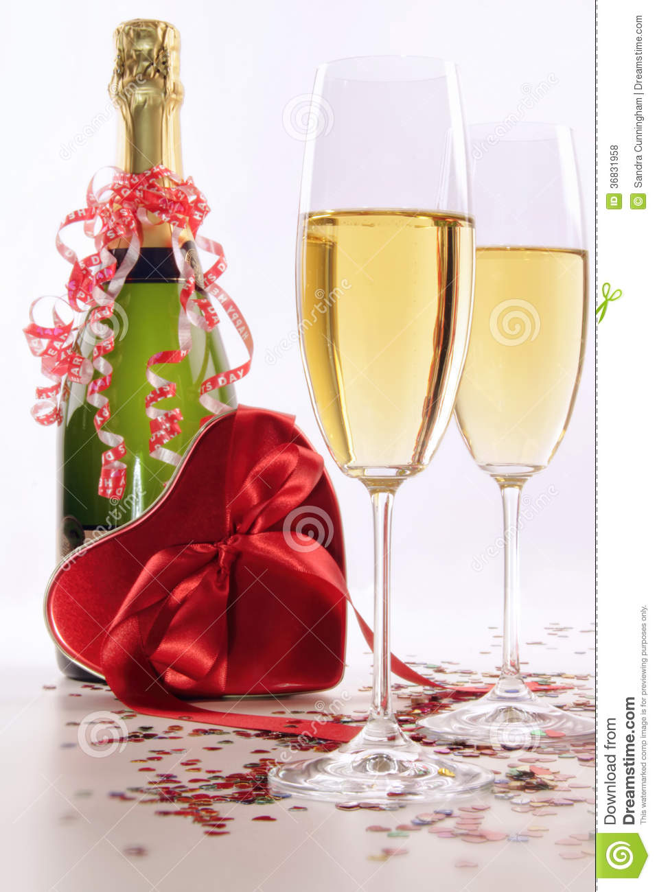 Glasses Of Champagne For Valentines Day With Heart Stock