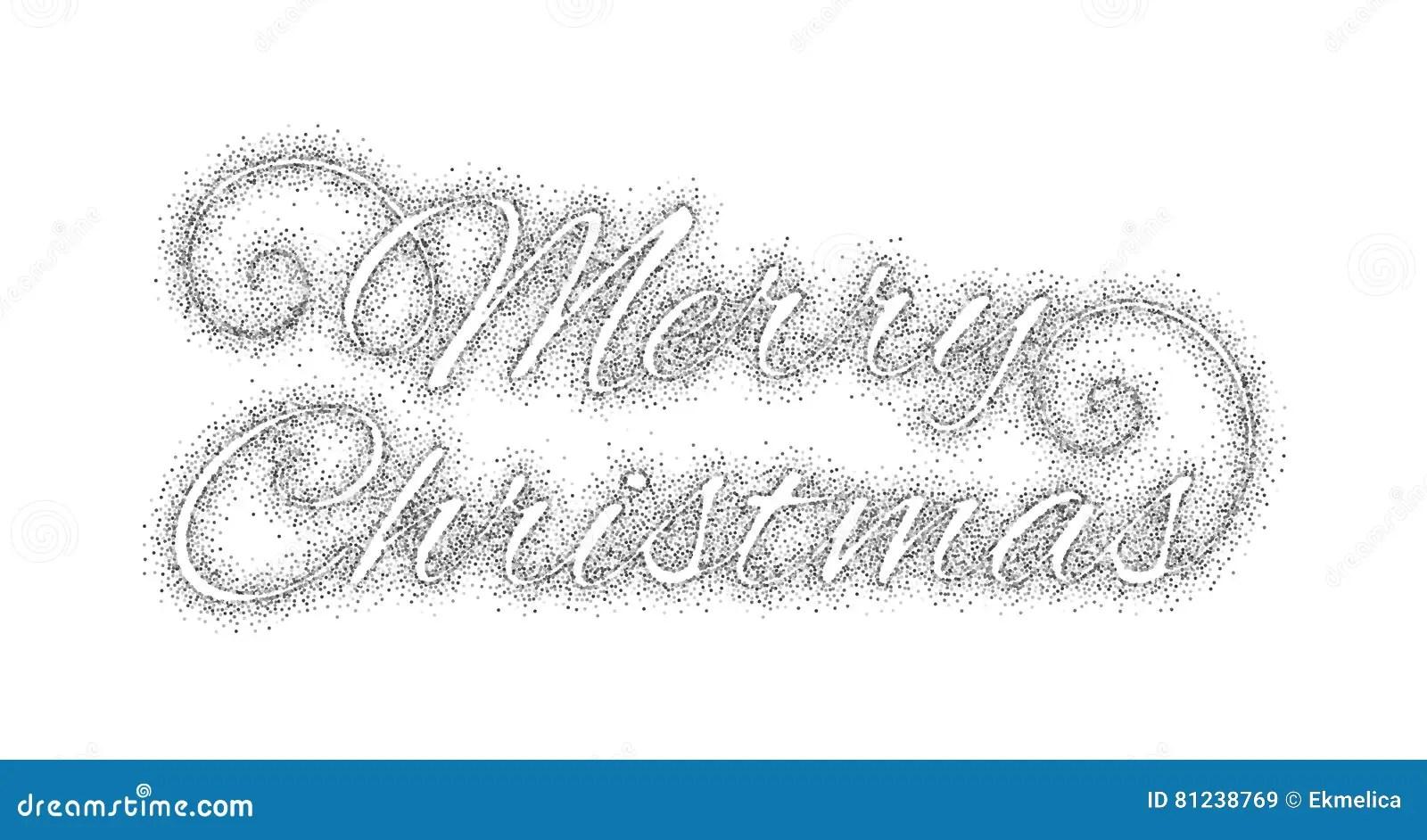 Glitter Silver Inscription Merry Christmas Stock Vector