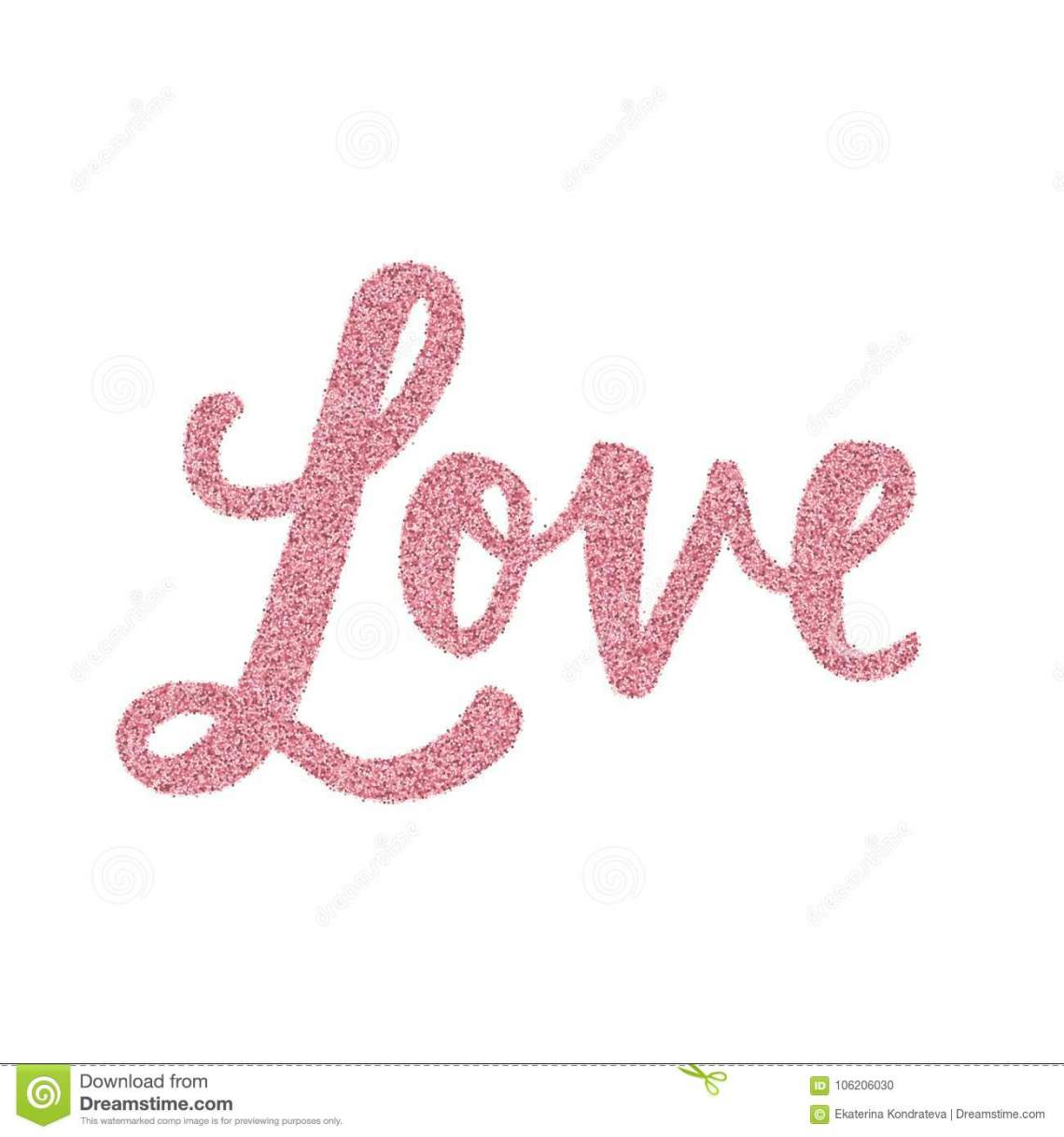 Download Glitter Word Love. Hand Drawn Lettering Stock Vector ...