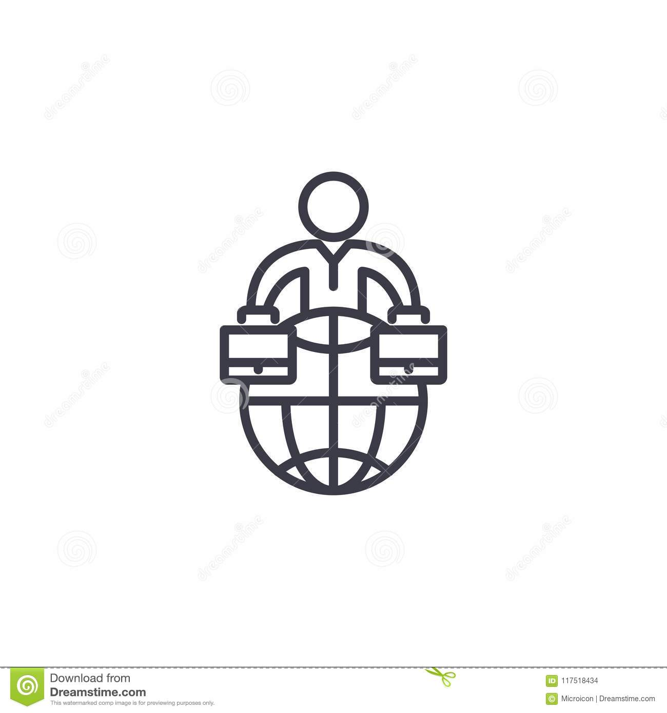 Global Business Organization Linear Icon Concept Global