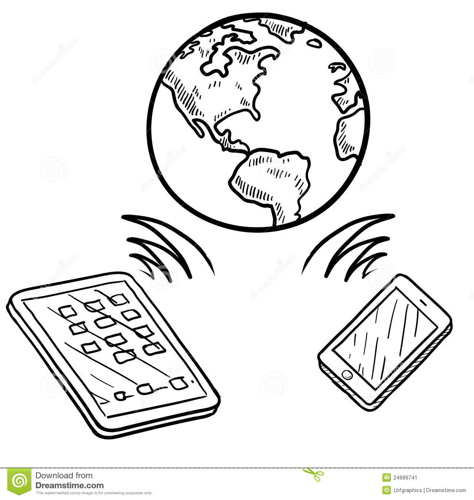 Global Communication Sketch Stock Vector