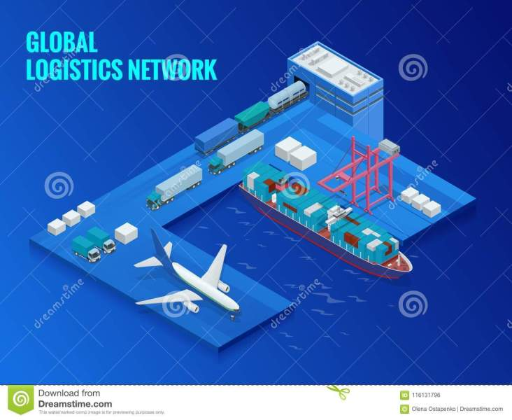 Global Logistics Network Flat Isometric Vector Illustration  Concept     Download Global Logistics Network Flat Isometric Vector Illustration   Concept Of Air Cargo Trucking Rail Transportation