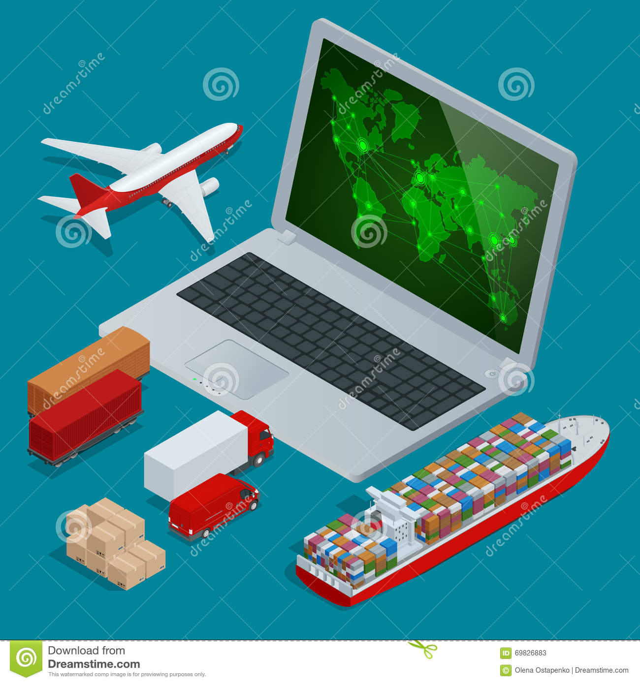 3d Global Cargo Transport Concept Stock Photography