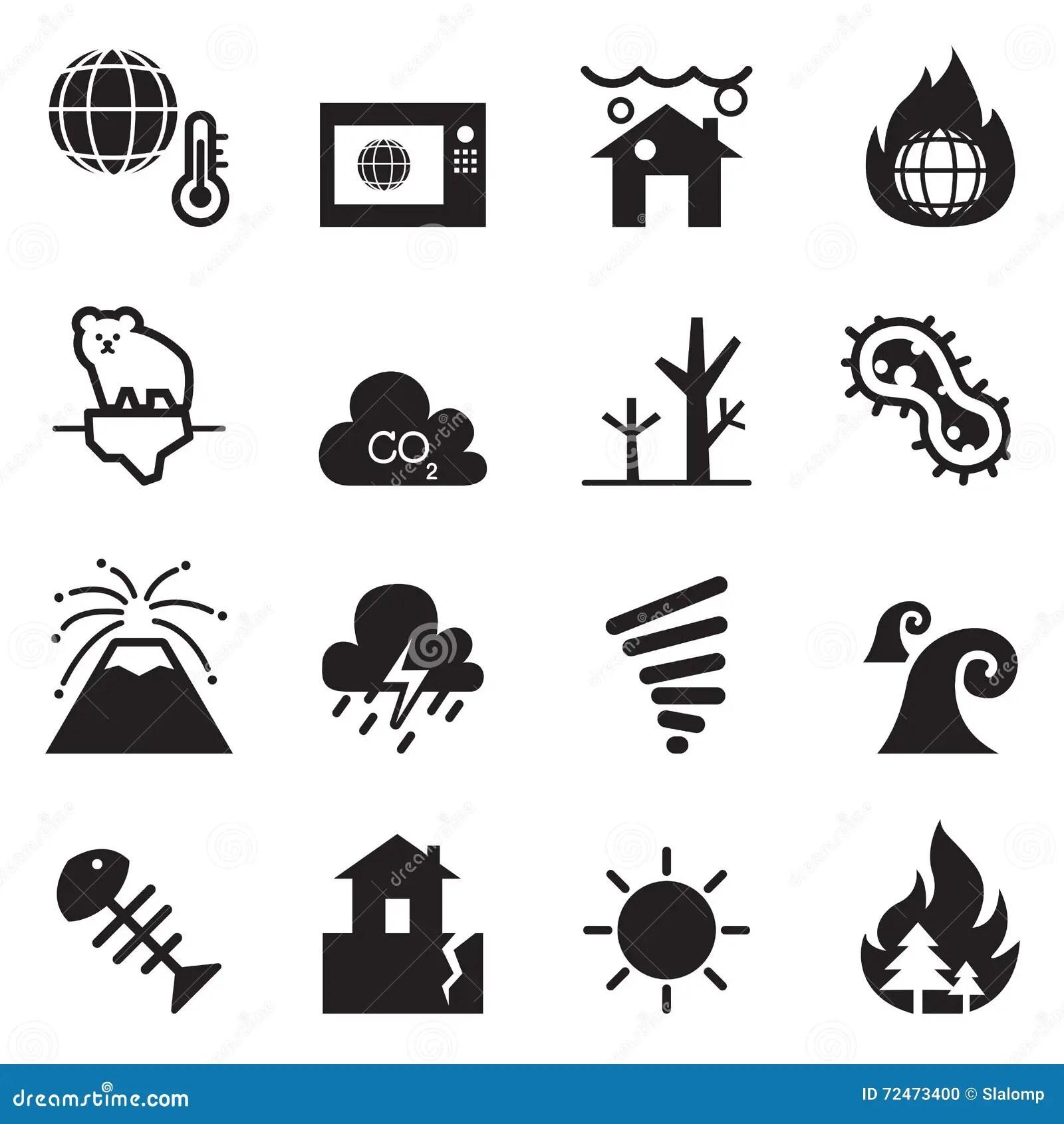 Global Warming Icons Cartoon Vector