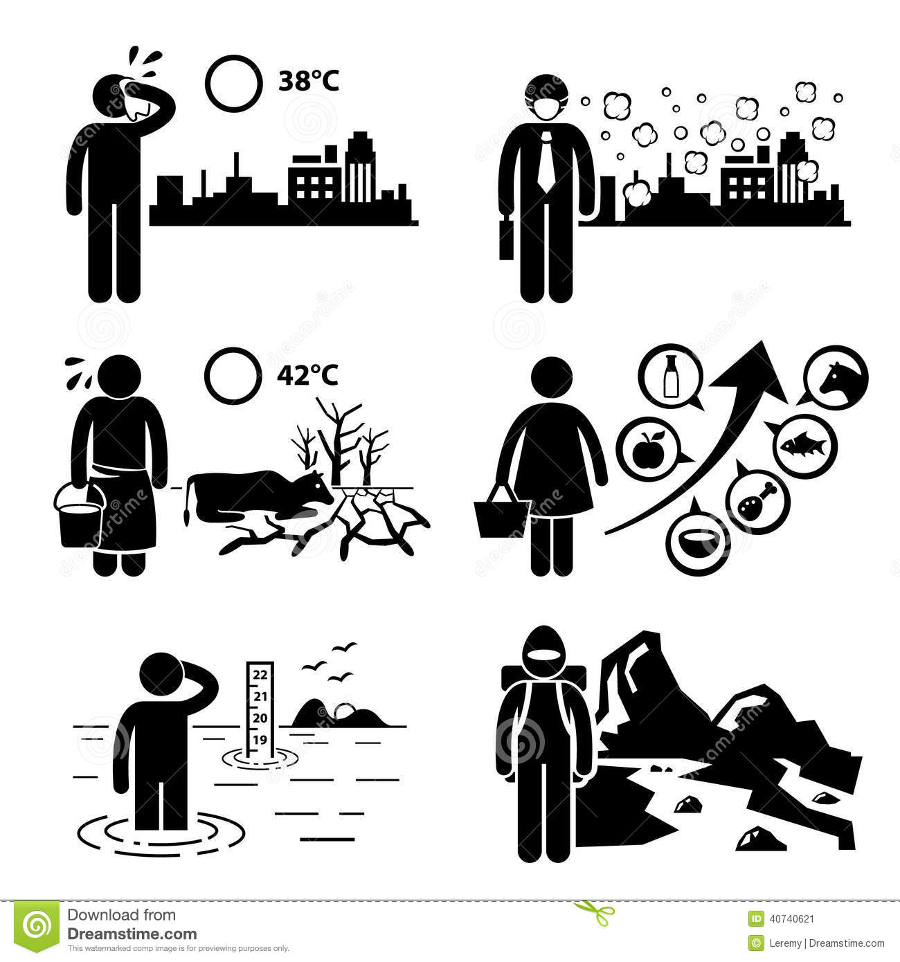 Global Warming Greenhouse Effects Cliparts Stock Vector