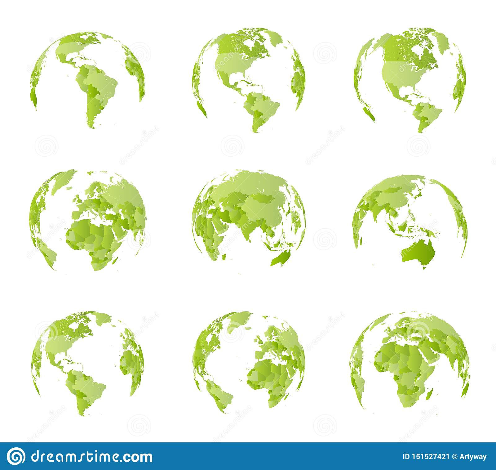 Globe Different Sides View All Country Borders On World