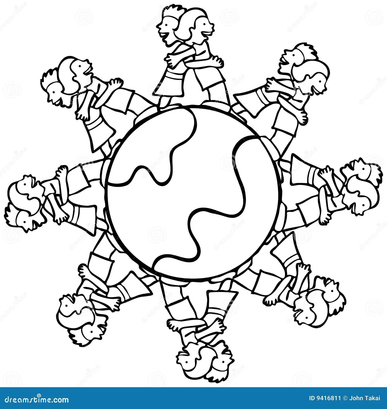Globe With Surrounding Kids Hugging