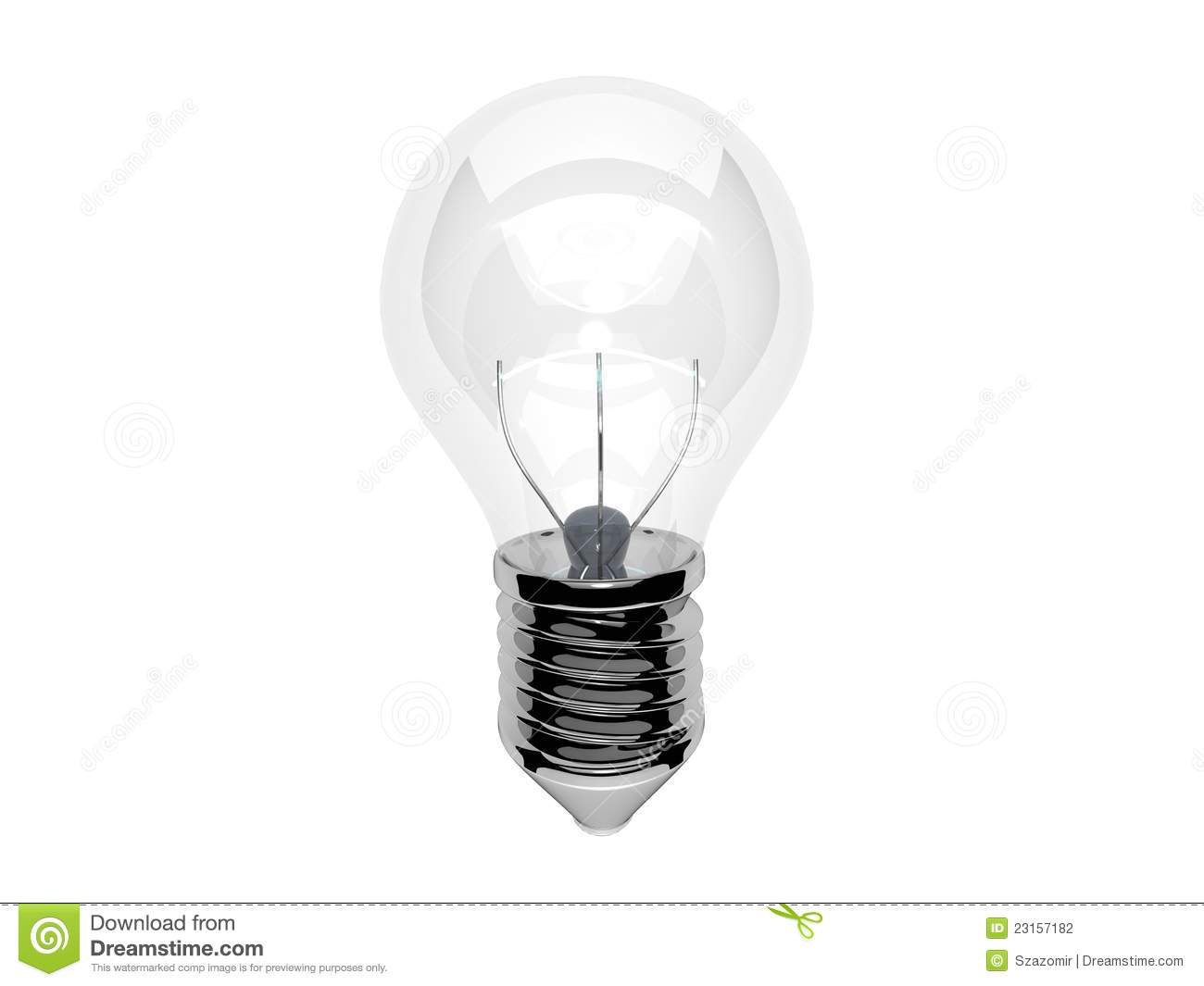 Glowing Light Bulb With White Fiber Stock Illustration