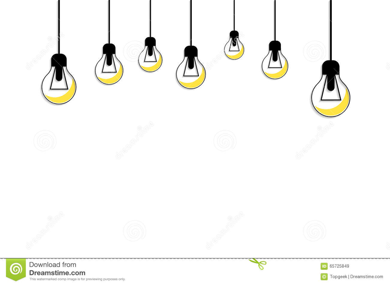 Glowing Yellow Light Bulb Idea Concept Stock Vector
