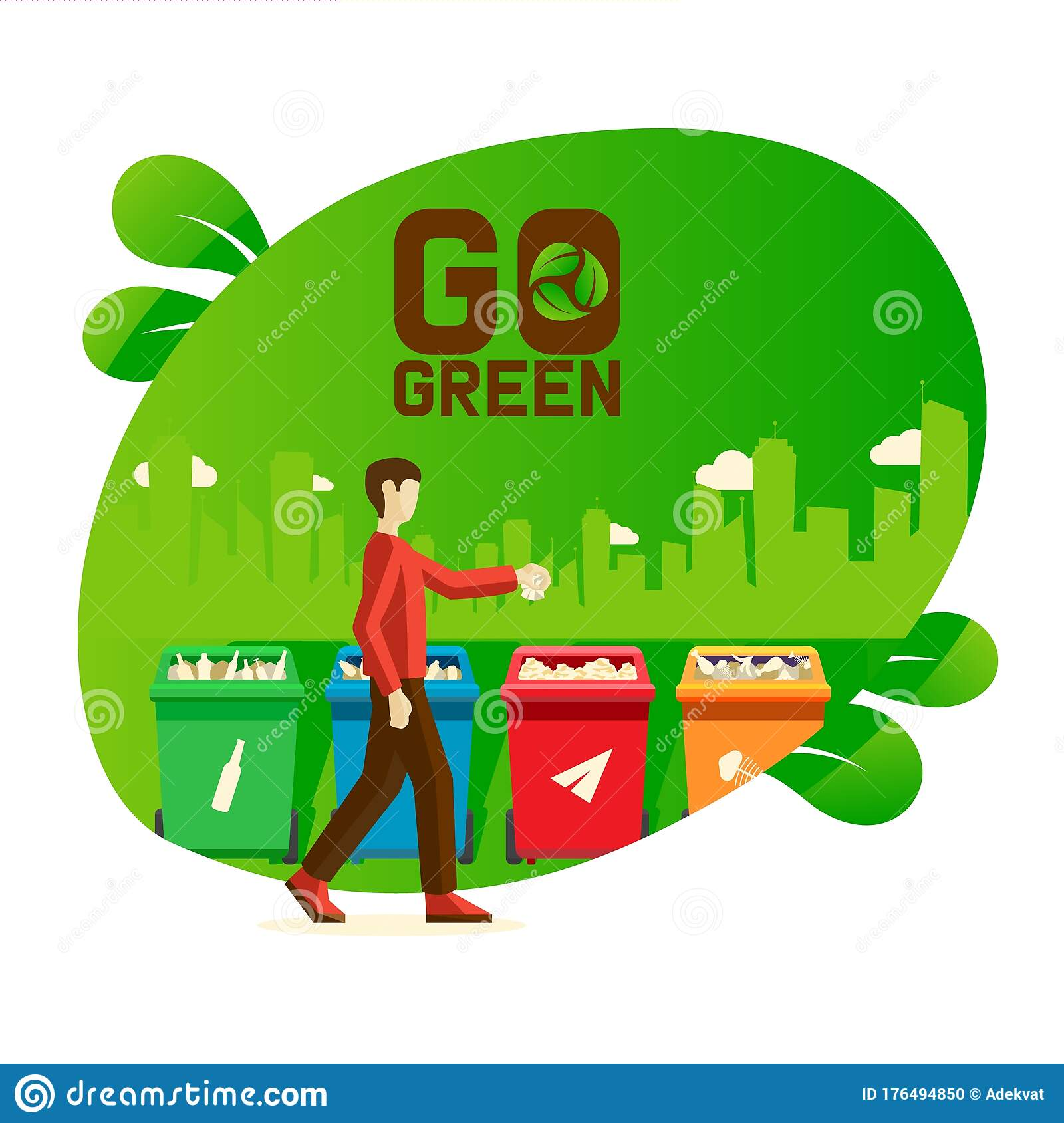 Go Green Banner Male Characters Recycle Plastic Paper