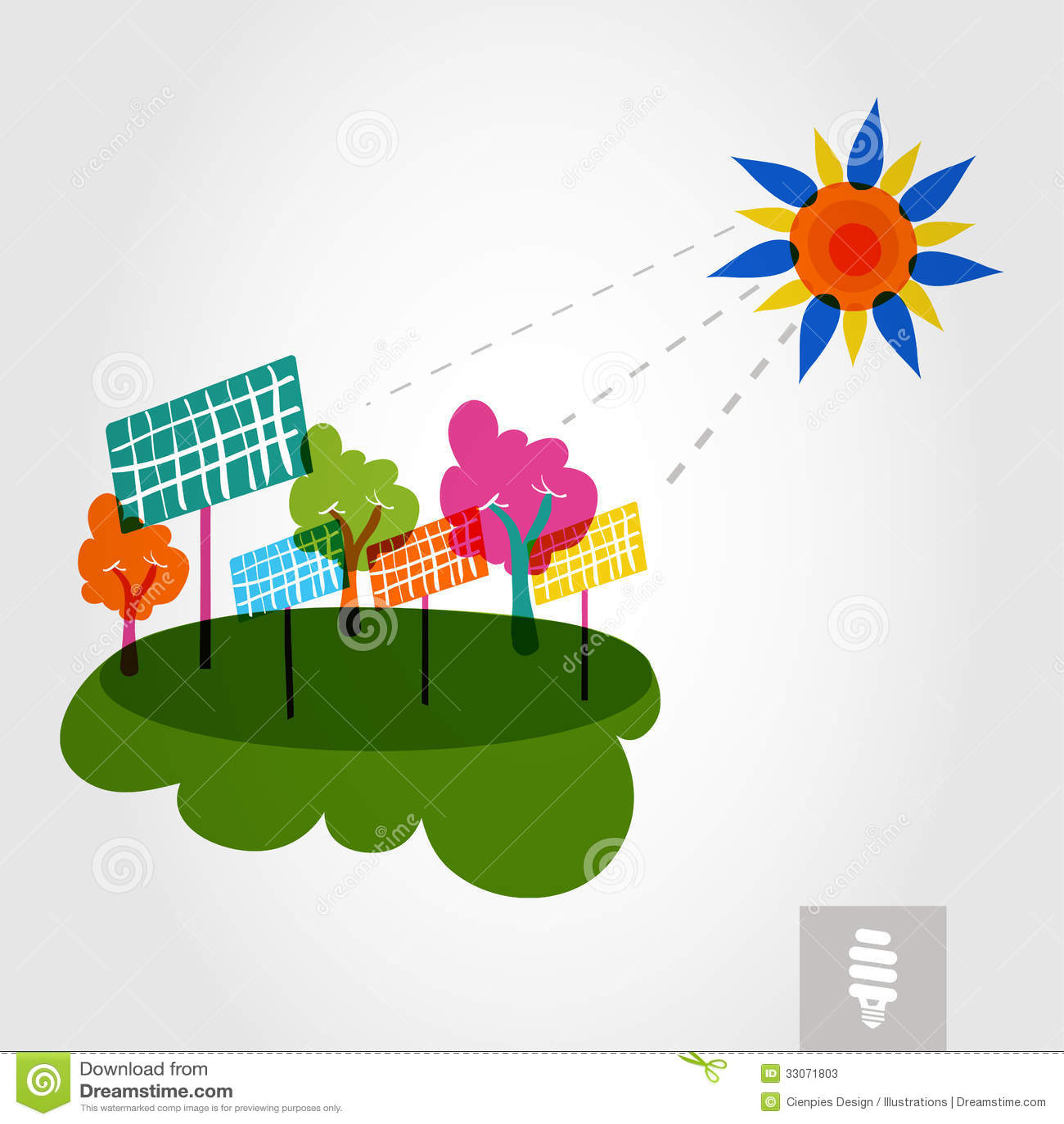 Go Green City Sun Trees And Solar Panels Stock Image