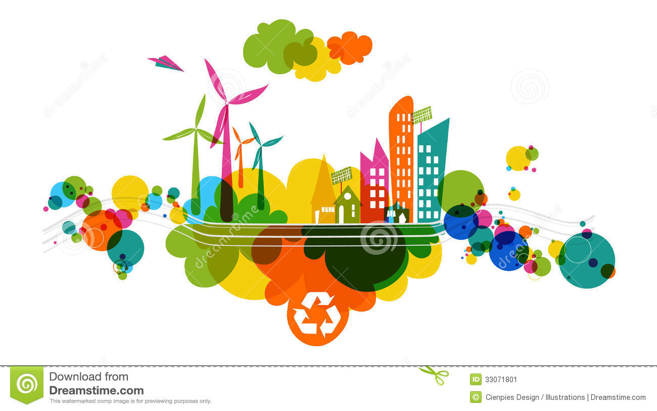 Go Green Transparent Colorful City Stock Image