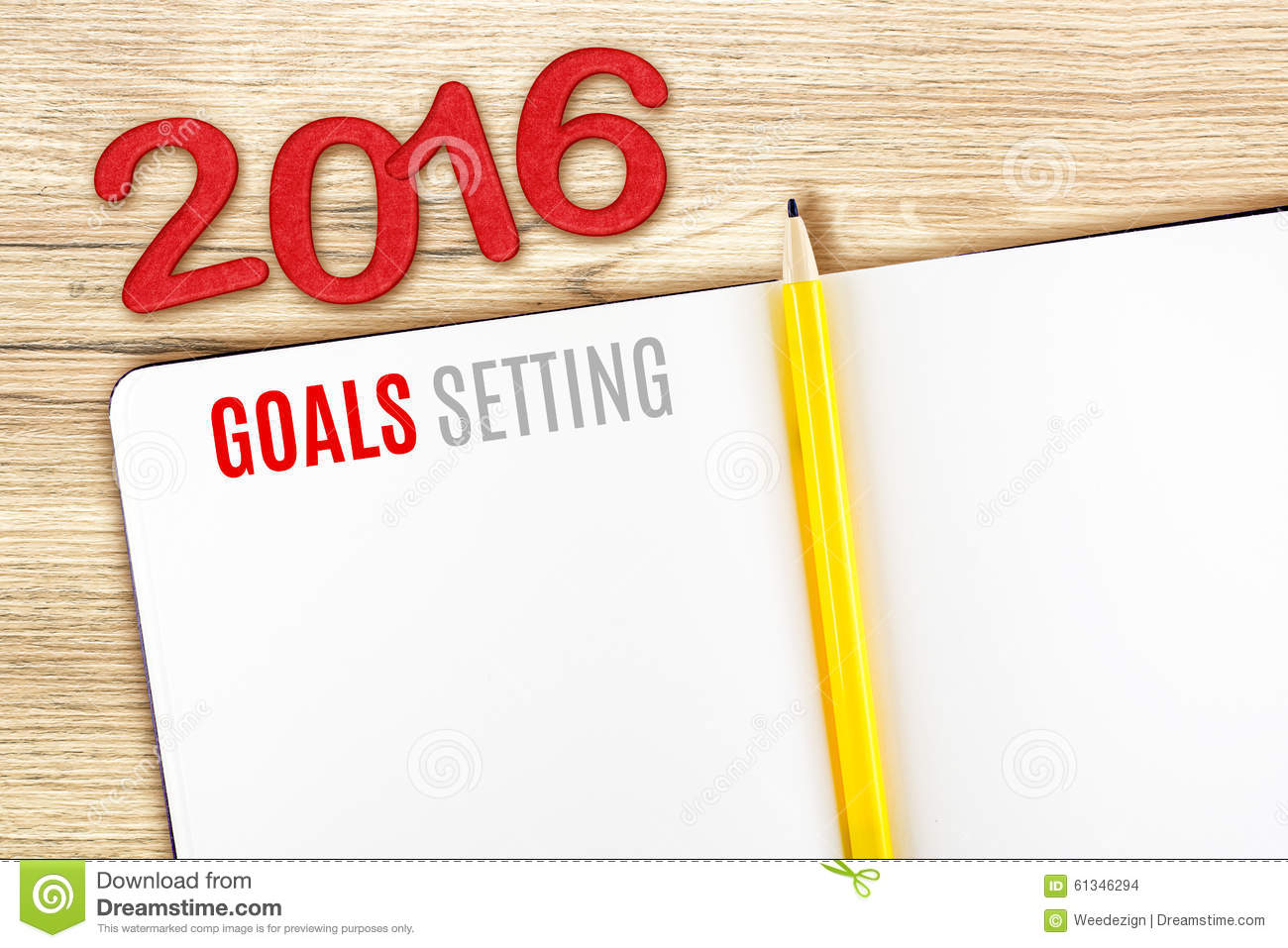 Goals Setting Word On Notebook Lay On Wood Table Template M Stock Photo