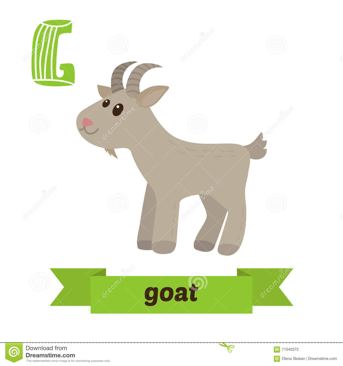 Goat G Letter Cute Children Animal Alphabet In Vector Funny C Stock Vector