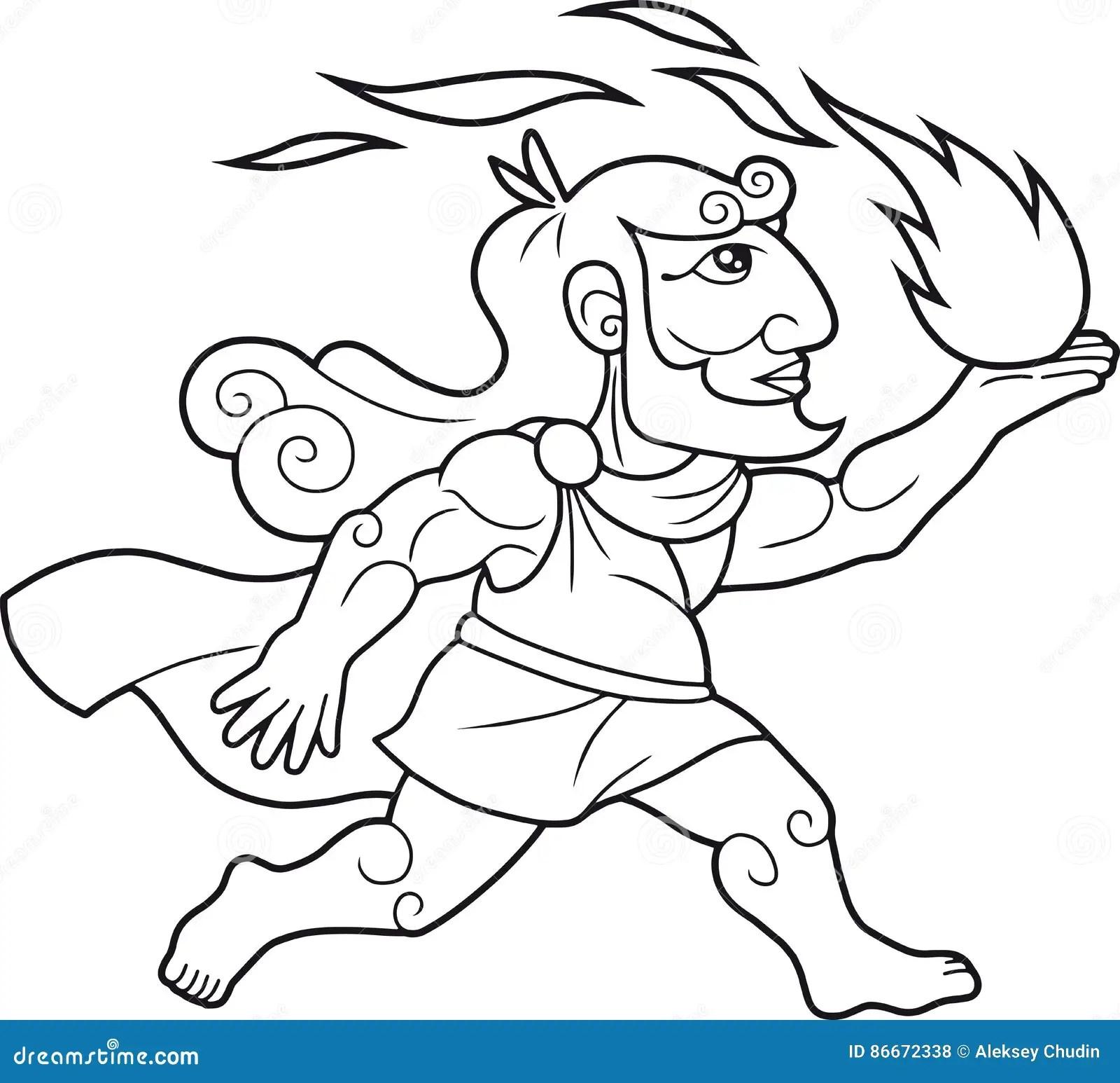 God Prometheus Brings Fire People Stock Vector