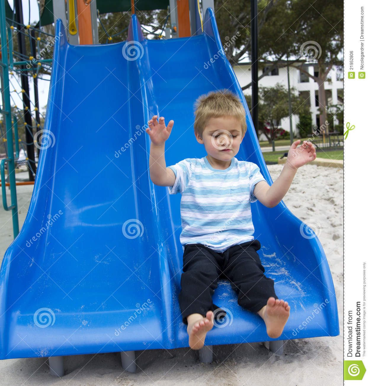 Going Down The Slide Stock Photo Image Of Casual Freedom