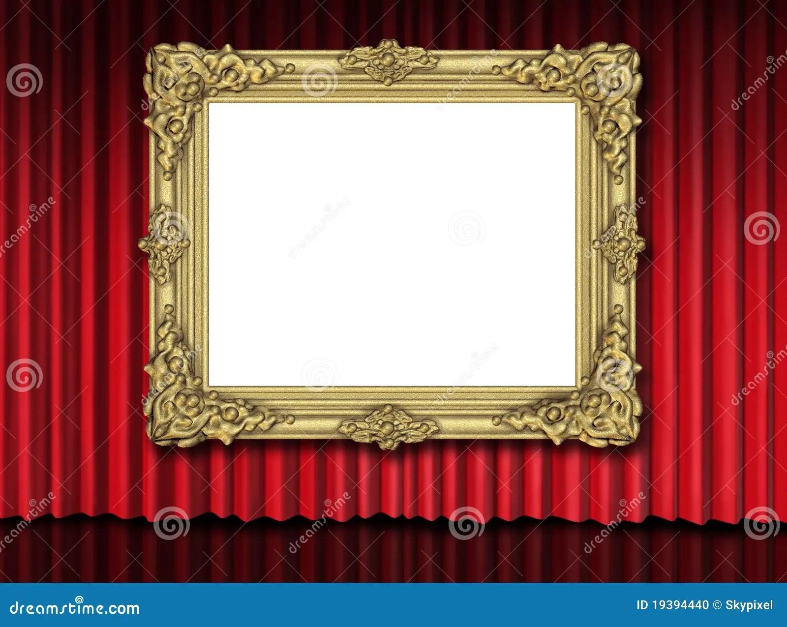 Gold Frame On Red Velvet Curtain Stock Illustration