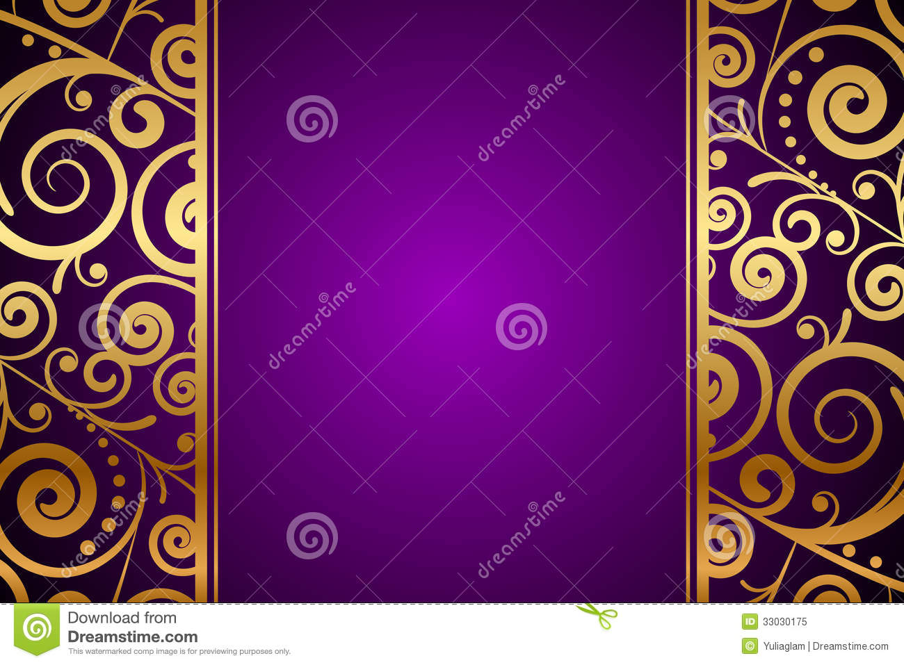 Gold Ornament On Purple Background Stock Vector Image 33030175