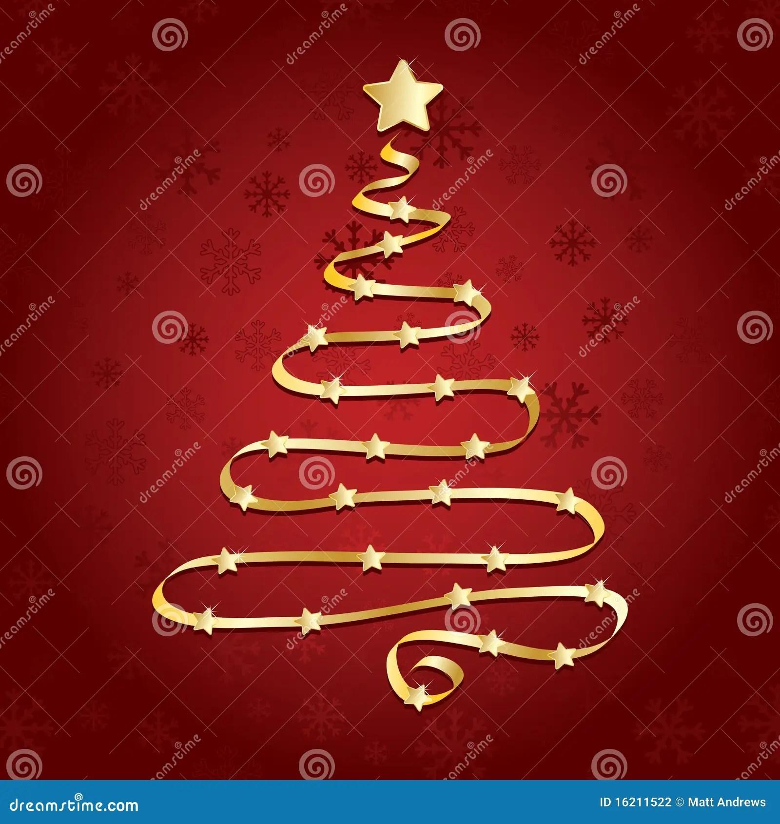 Gold Ribbon Christmas Tree Stock Vector Image Of Greeting