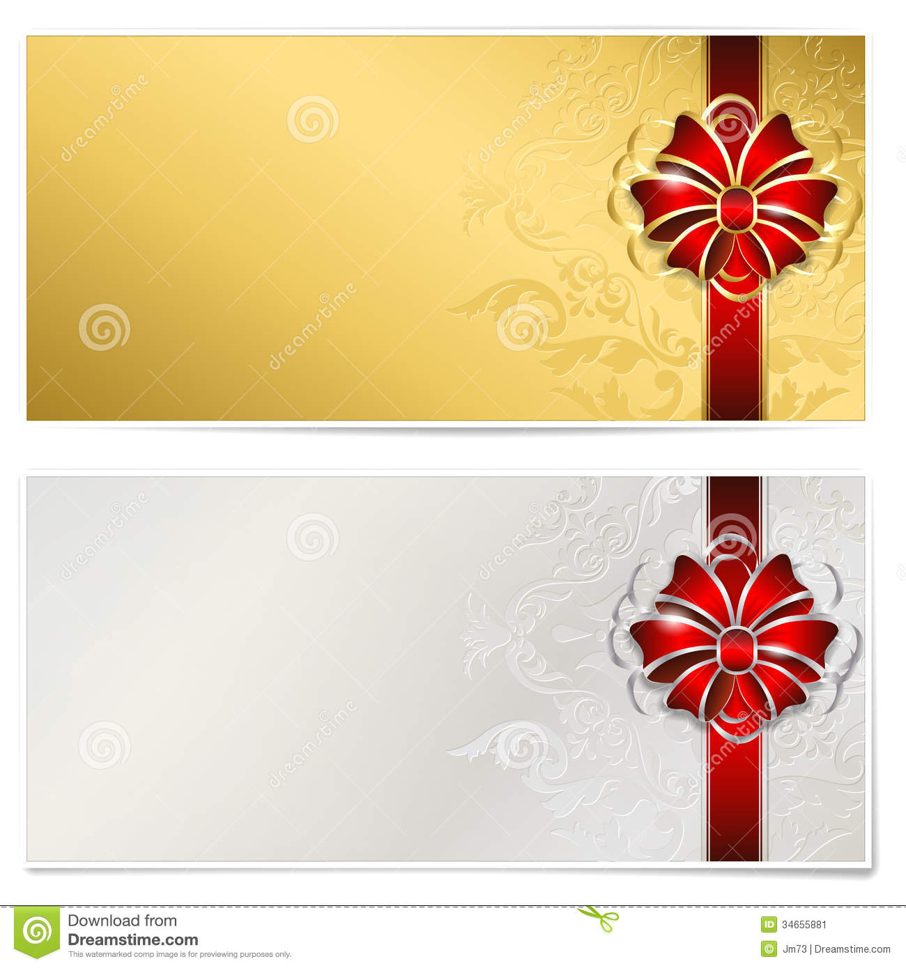 Gold And Silver Gift Voucher Stock Image Image 34655881