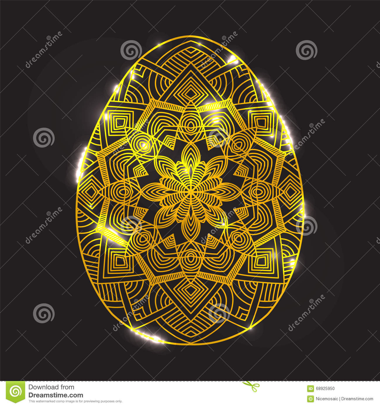 Golden Glowing Easter Egg With Mandala Pattern With