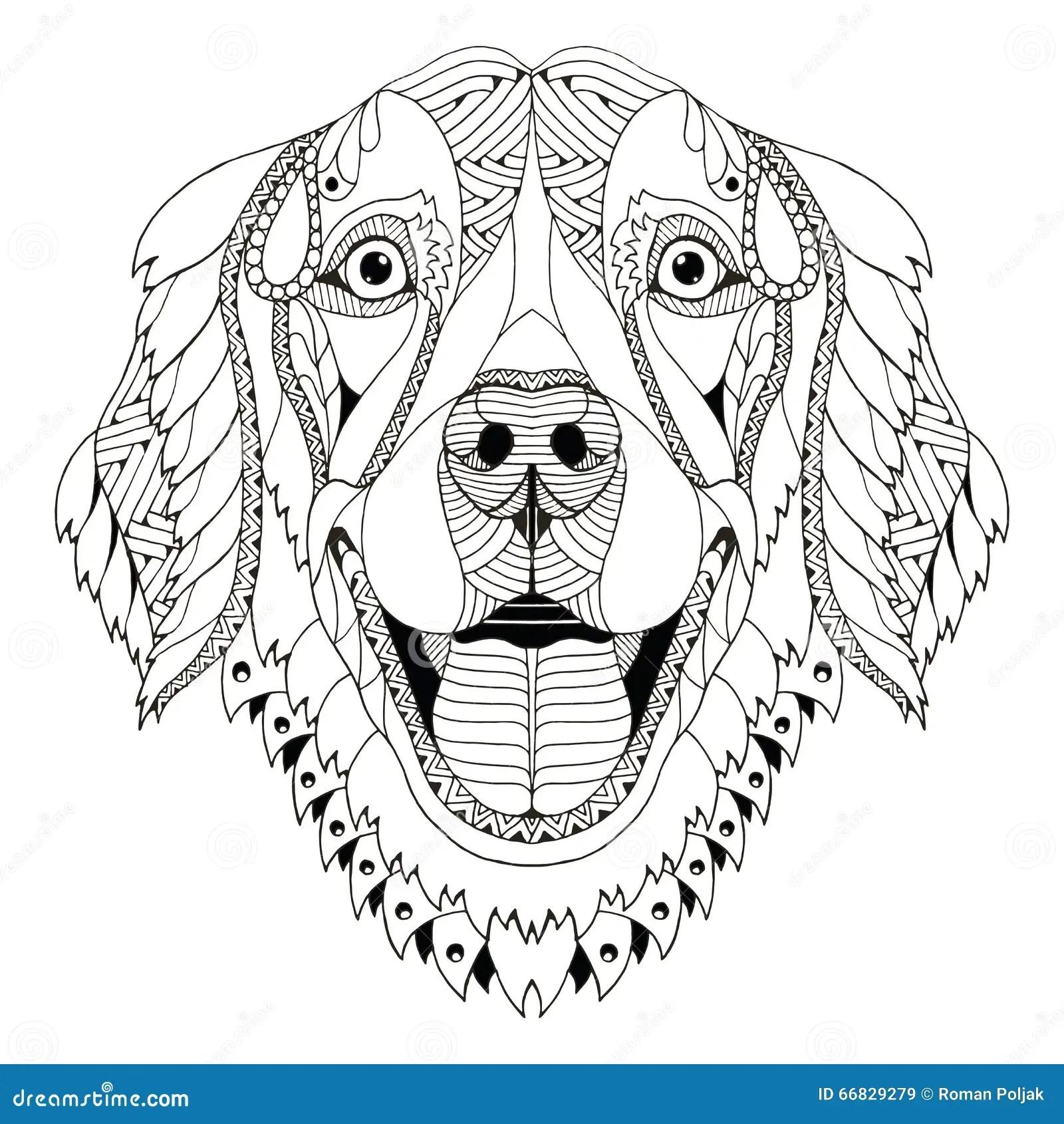 Golden Retriever Dog Zentangle Stylized Head Freehand Pencil H Stock Vector