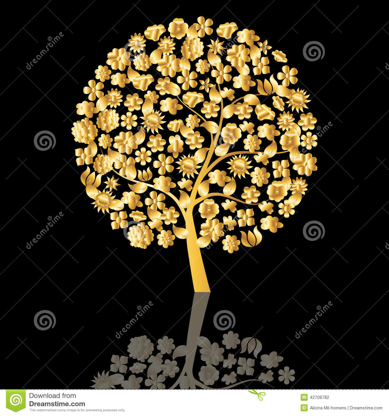 Golden Tree Stock Vector Image Of Celebrate Beautiful