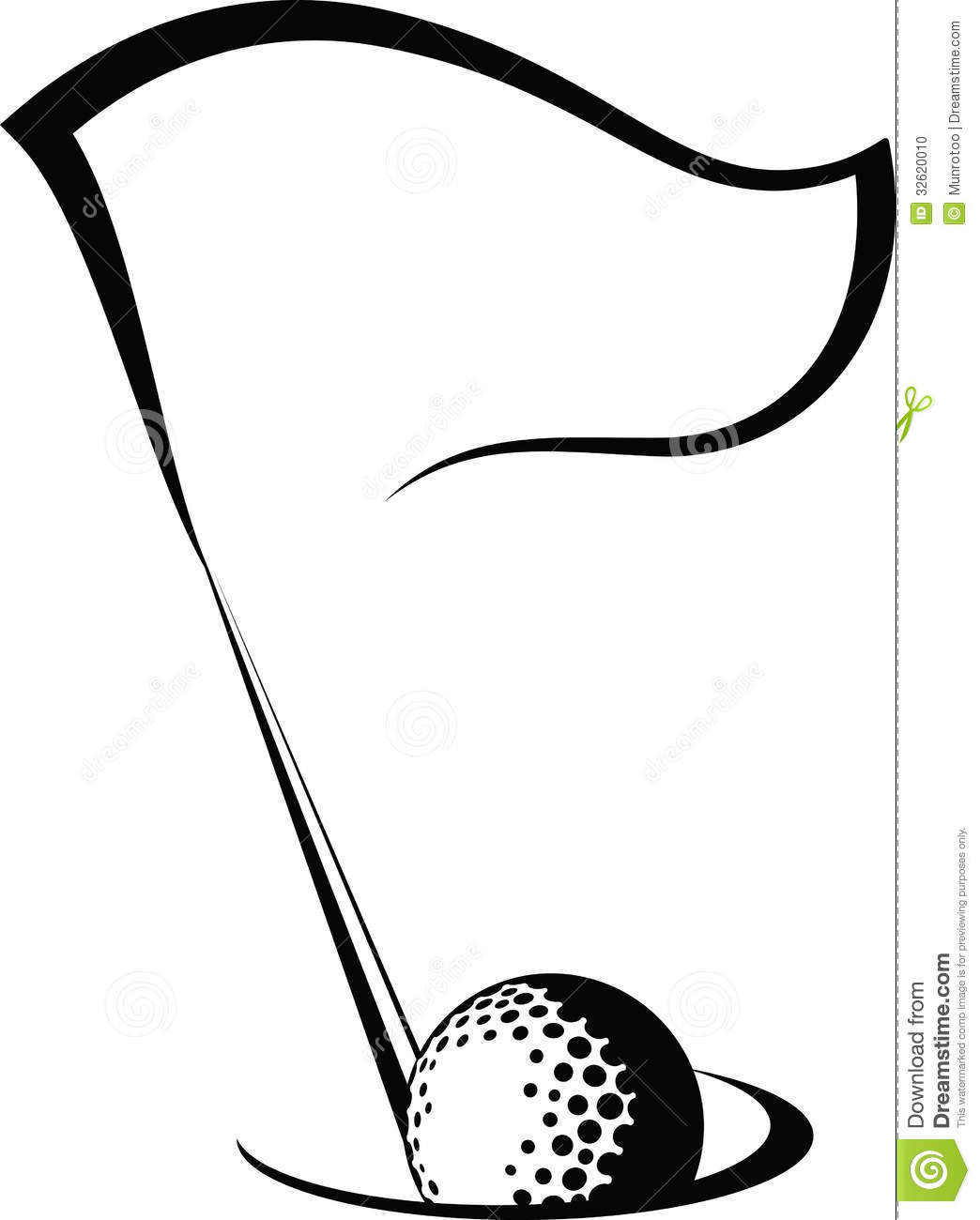 Golf Flag With Ball In Hole Stock Photo