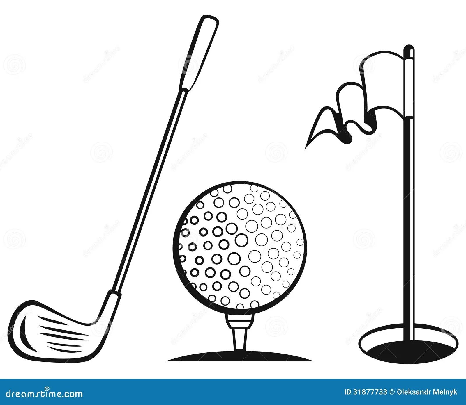 Golf Icon Set Stock Vector Illustration Of Black Image