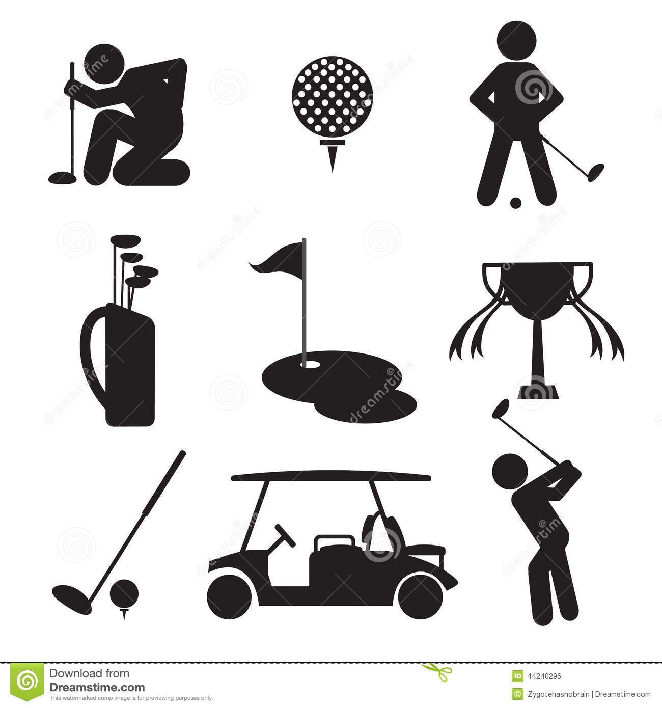 Golf Icon Set Stock Vector