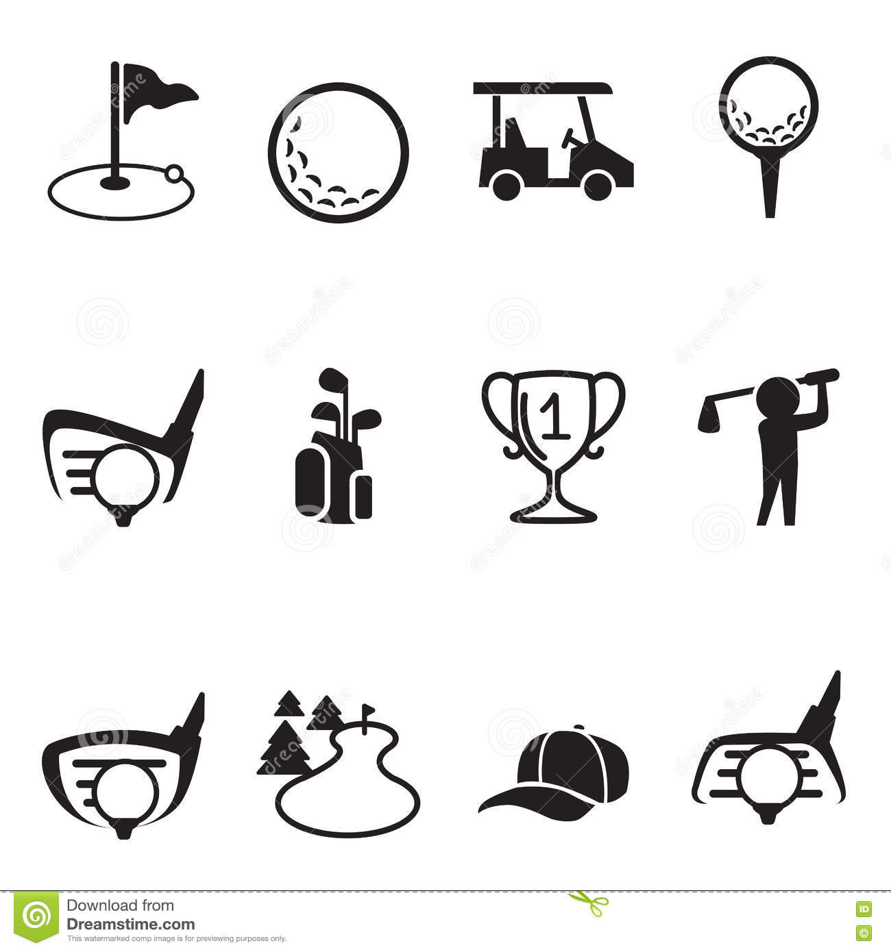 Golf Icons Set Stock Vector Illustration Of Competition