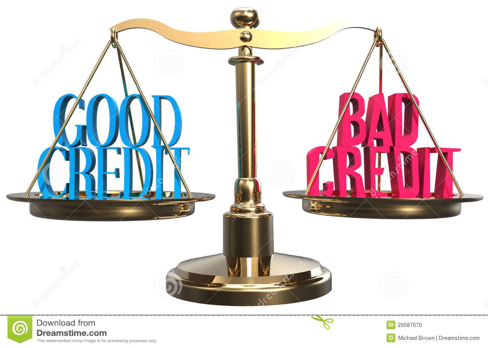 Good Or Bad Credit Scales Balance Choice Stock