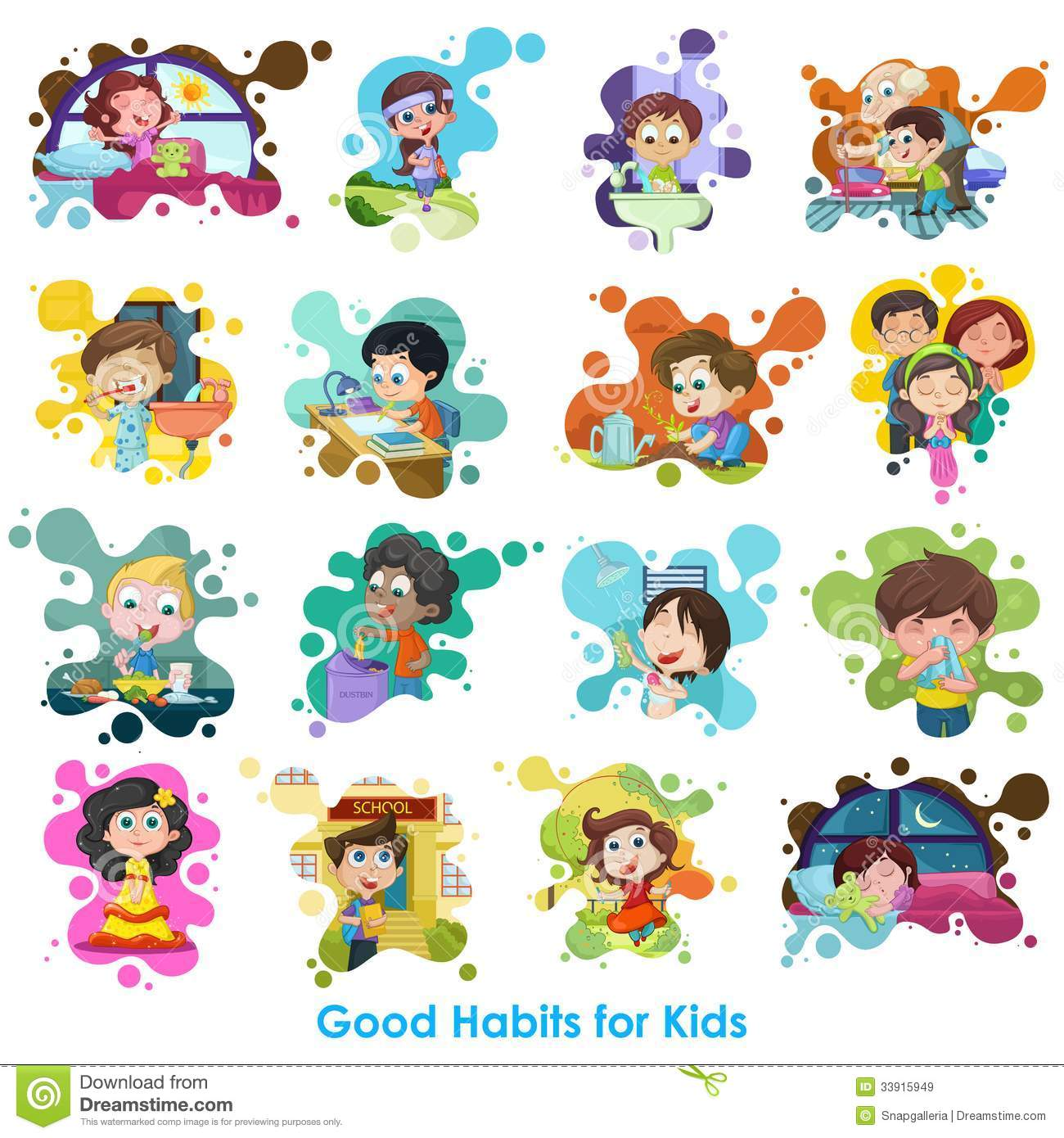 Good Habits Chart Stock Vector Illustration Of Girl