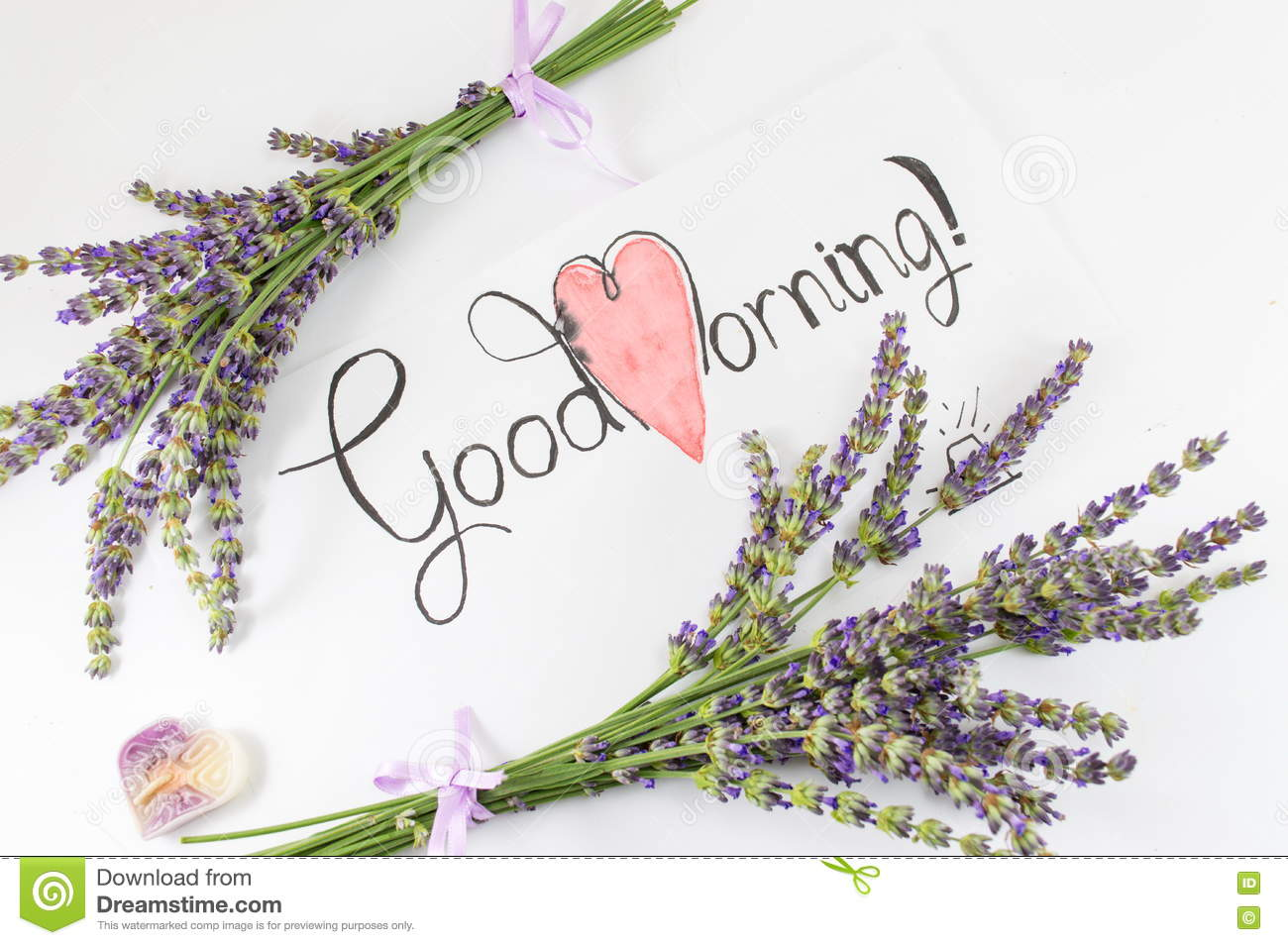 Good Morning Card With Lavender On A Table Stock Photo