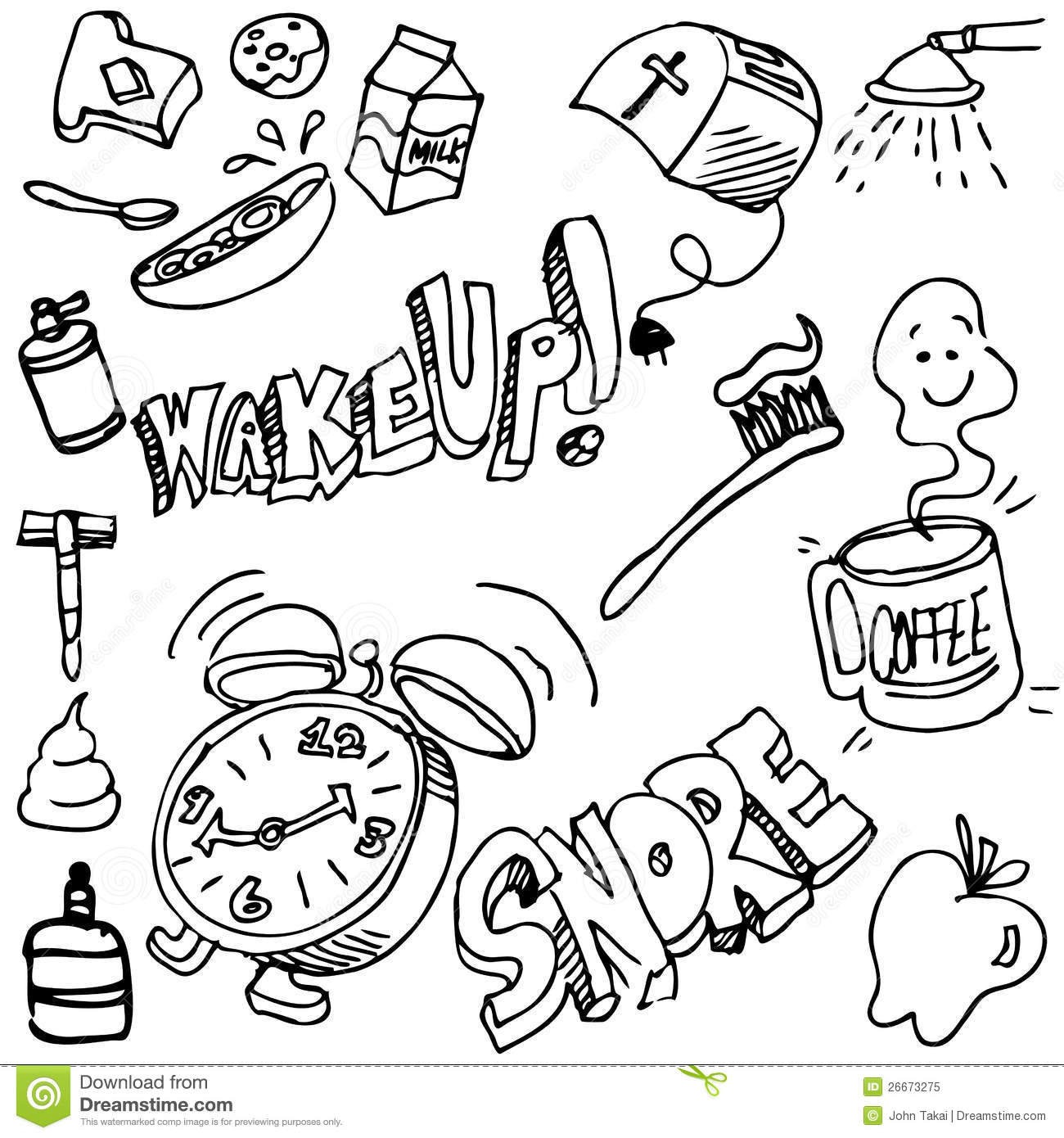 Good Morning Drawing Set Stock Vector Illustration Of