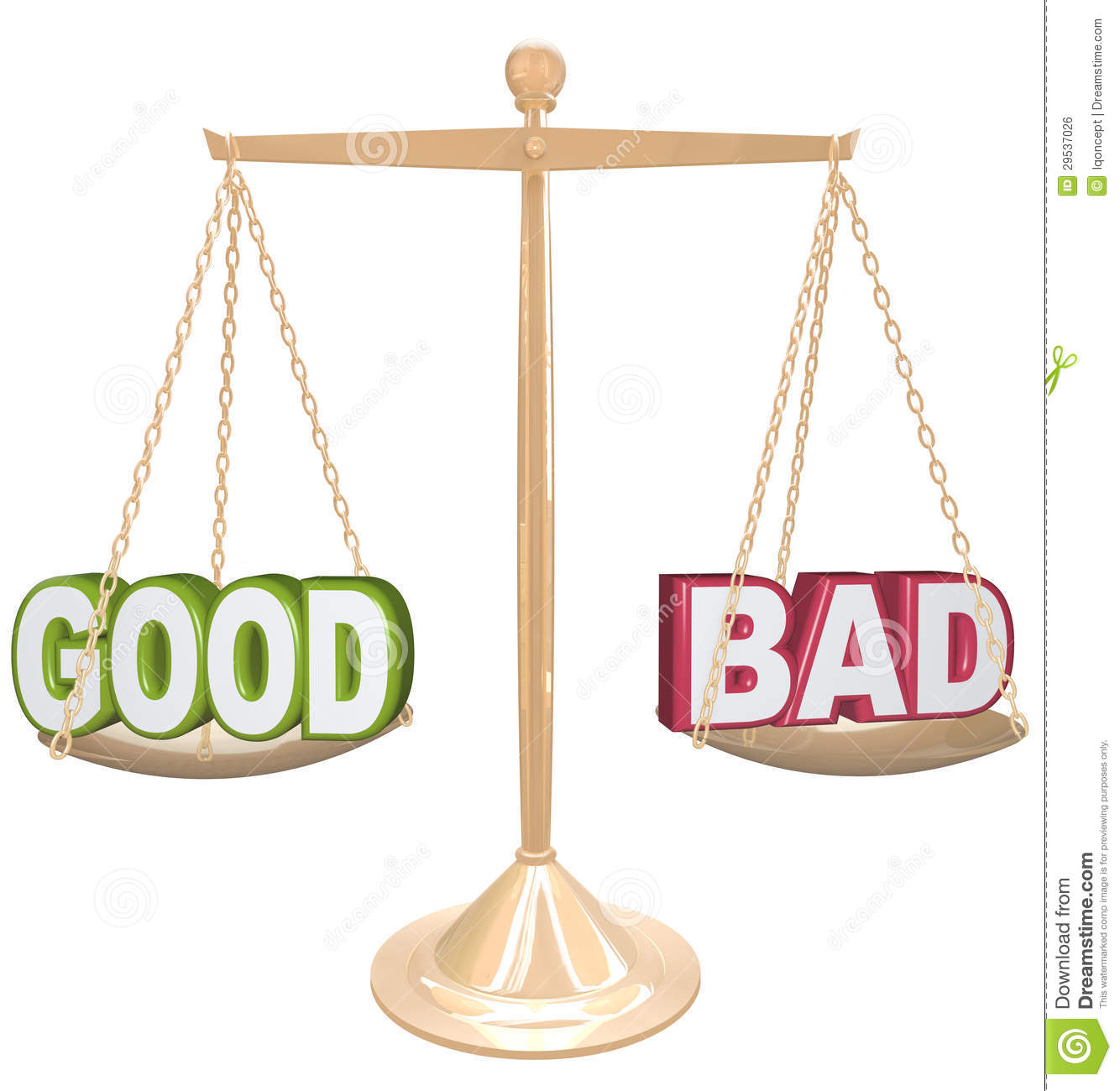 Good Vs Bad Words On Scale Weighing Positives Vs Negatives