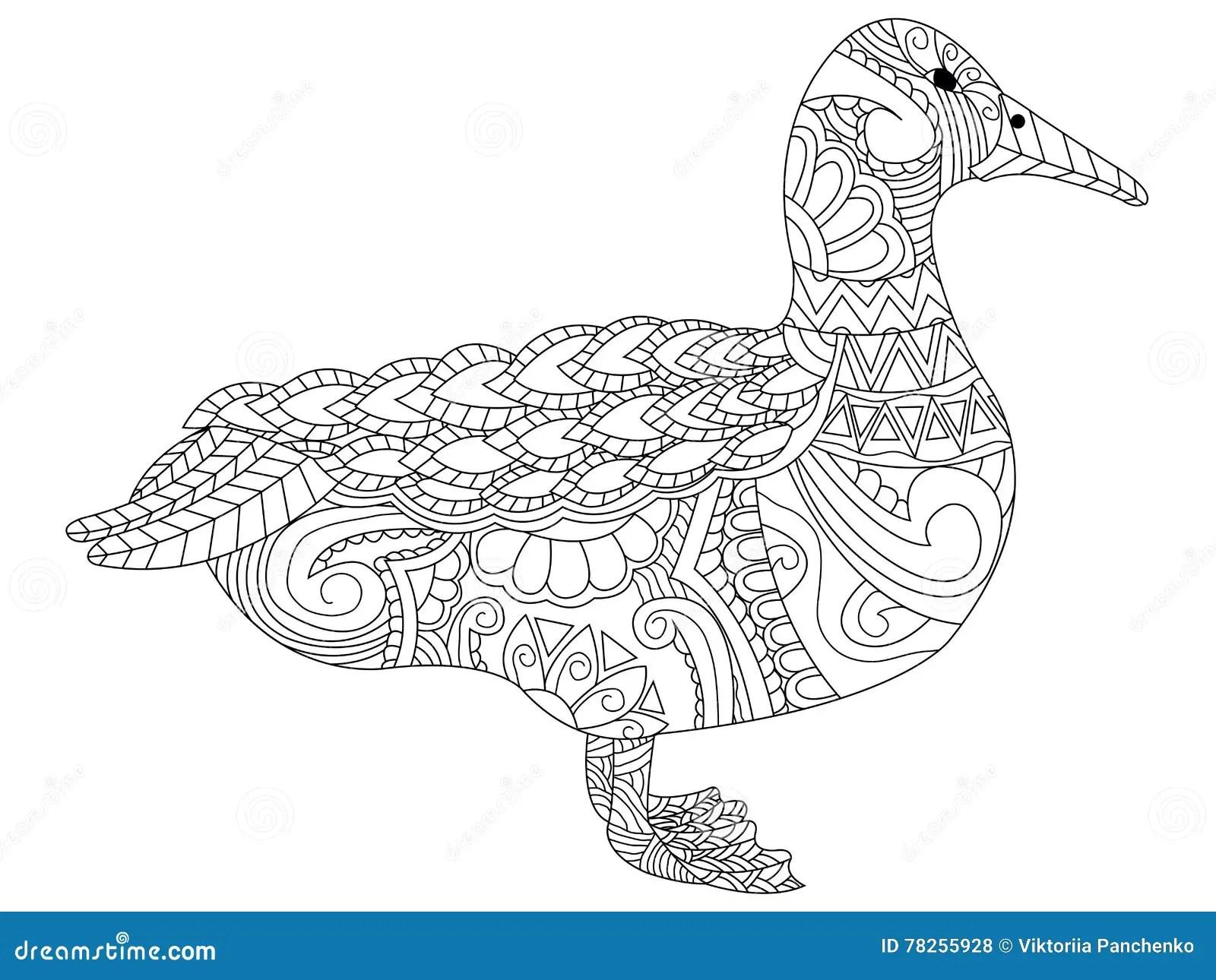 Swan Hand Drawing Logo Vector Cartoon Vector