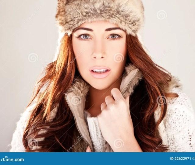 Gorgeous Redhead Fashion Model In Winter Fur
