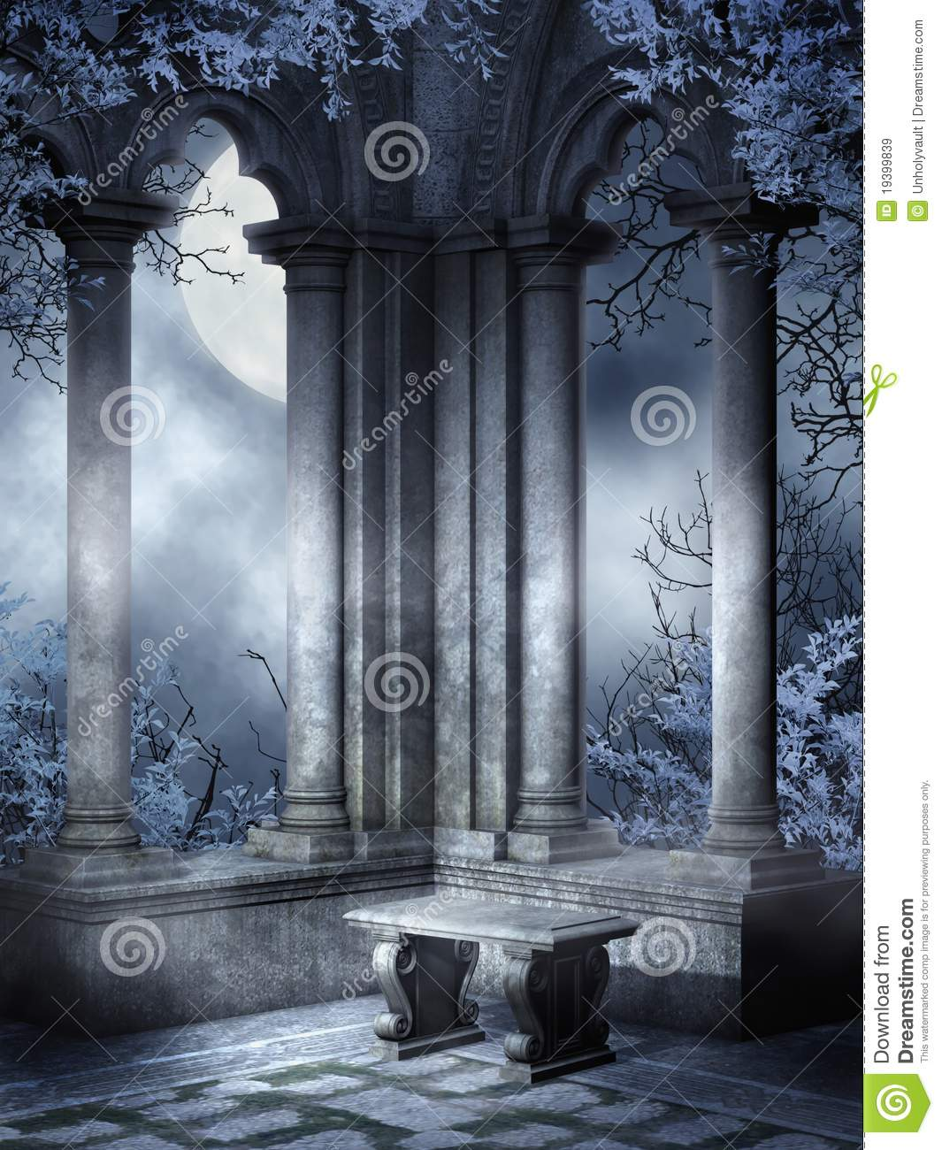 Gothic Ruins With A Bench Stock Illustration Image Of