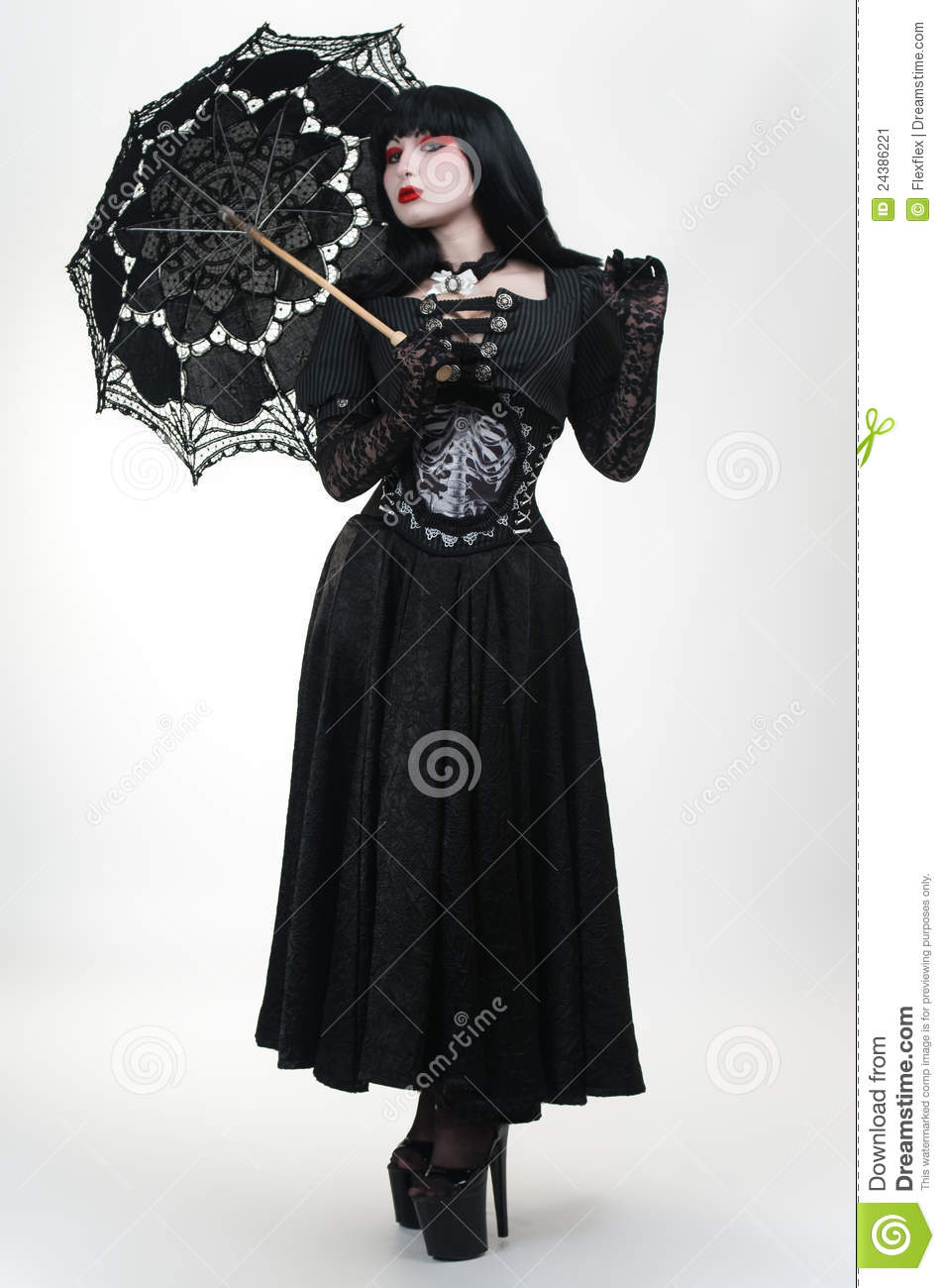 Gothic Vampire Girl In Black Dress With Umbrella Stock