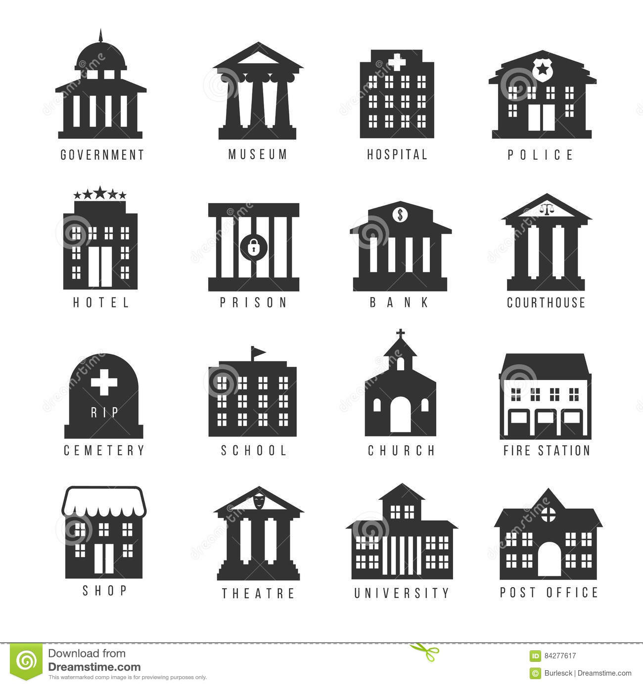 Government Building Icon Set Vector Buildings Like