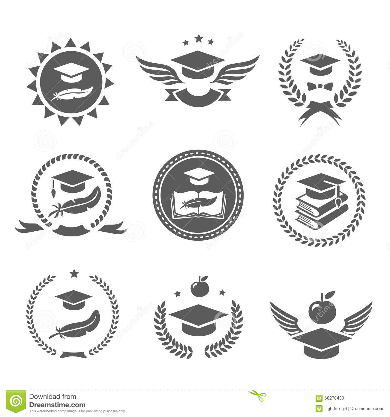 Graduation Cap Labels Set College Study Diploma And Hat