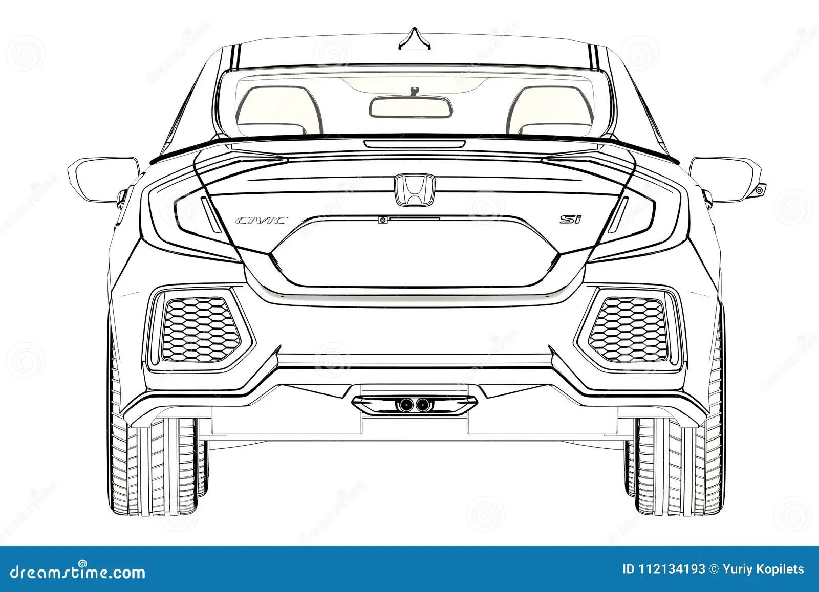 Grafik Limousine Honda Civics Skizze Abbildung 3d