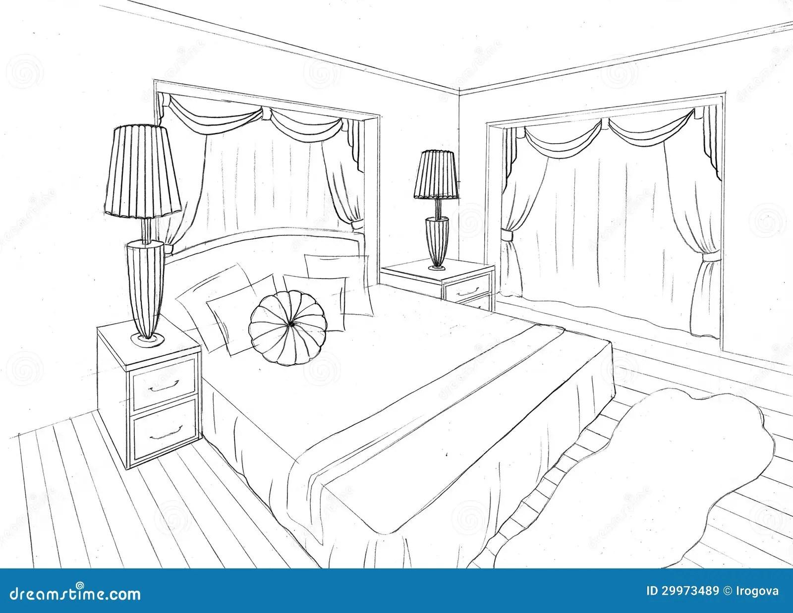 Grafische Skizze Einer Innenwohnung Lizenzfreie