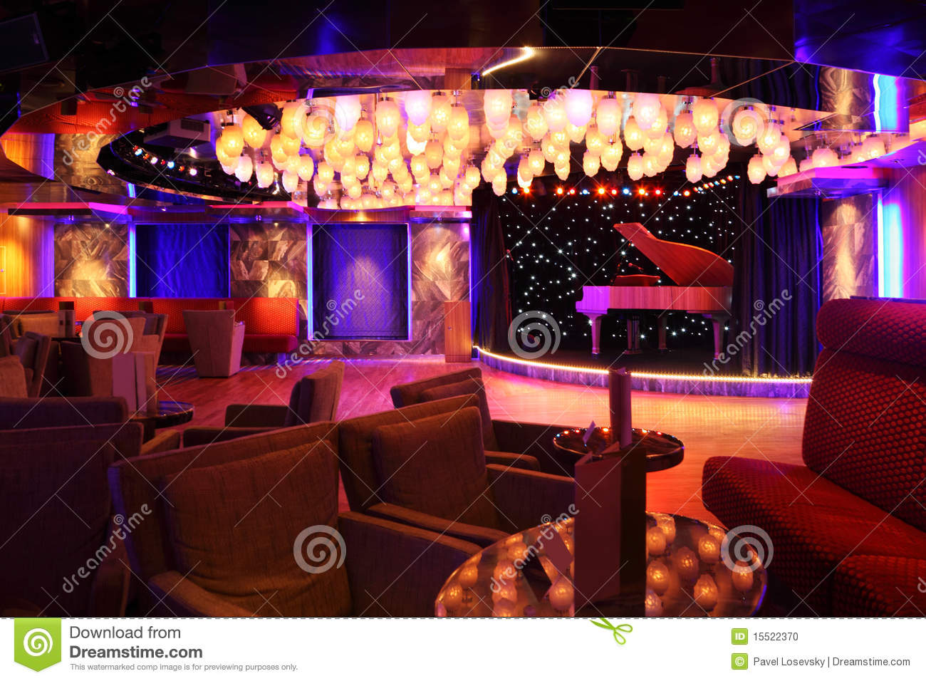 Grand Piano At Concert Stage In Restaurant Stock Photo